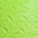 Самоклеюча 3D панель під цеглу Зеленого кольору 7 мм (в упаковці 10 шт), фото 2