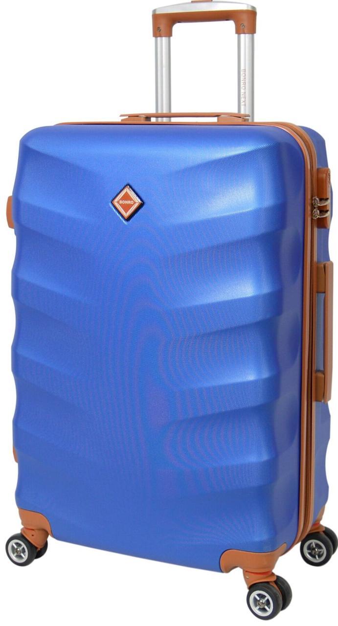 Небольшой дорожный чемодан на 8-и каучуковых колесах Bonro Next синего цвета с кодовым замком