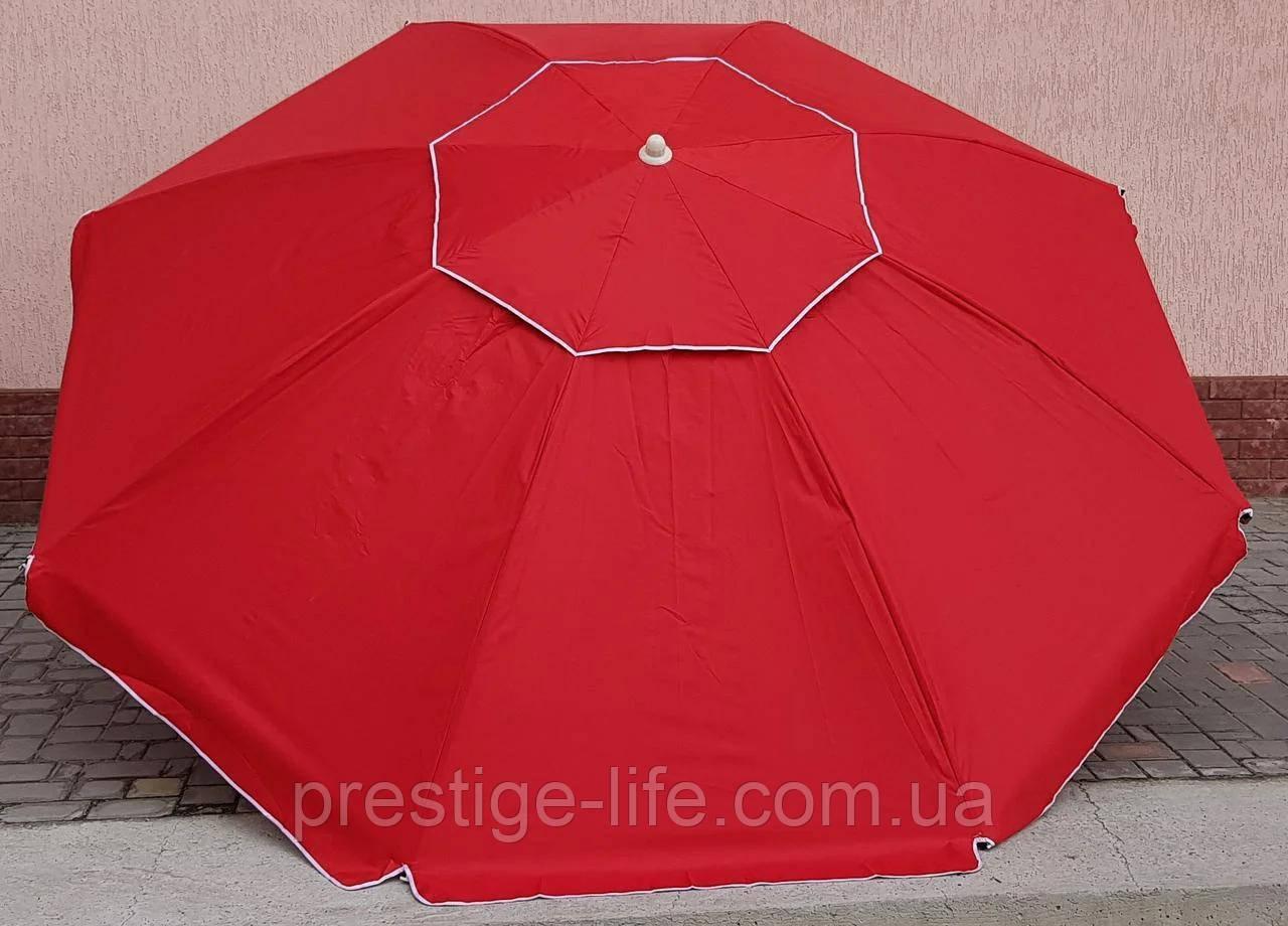 Пляжный, садовой, торговый Зонт диаметром 3,5 м с клапаном. 16 спиц. Красный