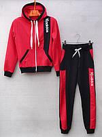 """Спортивный костюм детский """"Adidas реплика"""". Возраст 8-12 лет. Коралловый с черным. Оптом"""