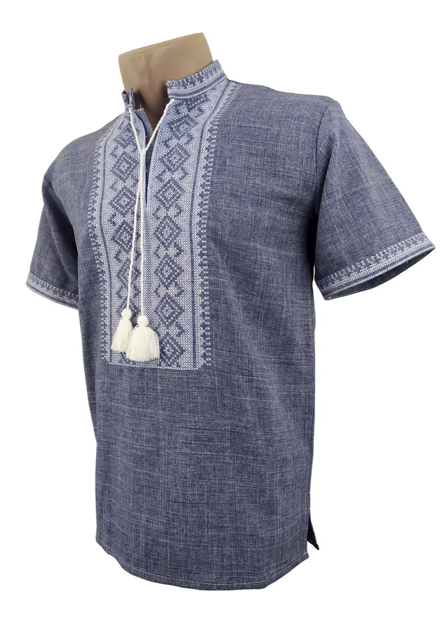 Мужская рубашка джинс с коротким рукавом с воротником стойкой