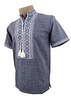 Мужская рубашка джинс с коротким рукавом с воротником стойкой, фото 1