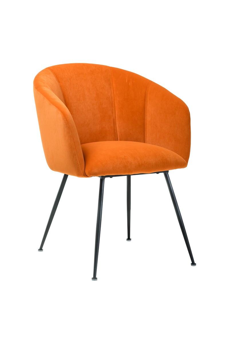 Кресло M-60 вельвет медный оранж + черный металл от Vetro Mebel