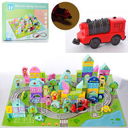 Деревянная игрушка - кубики с железной дорогой (паровозик ездит) арт. 2426