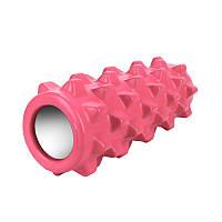 Массажный валик ролик Dobetters Grid Roller Pink 33*12 см для мышц всего тела массажер (спина, руки, ноги)