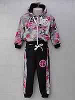 """Спортивный костюм детский """"Tik Tok"""". Возраст 1-4 года. Серый с черным. Оптом"""