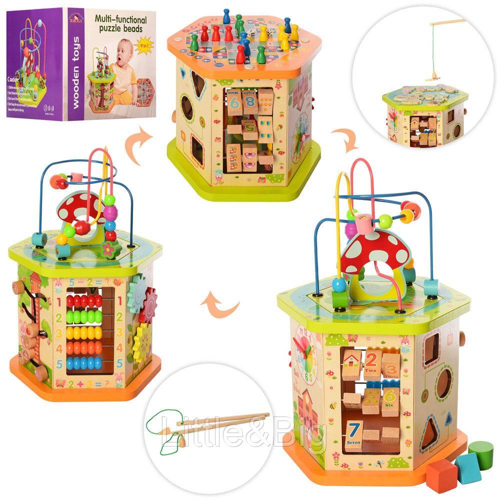 Развивающая деревянная игрушка (бизиборд, пальчиковый лабиринт, рыбалка, сортер) арт. 2433