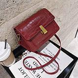 """Женская классическая сумка на ремешке """"Крокодил"""" через плечо 005 7445 красная, фото 6"""