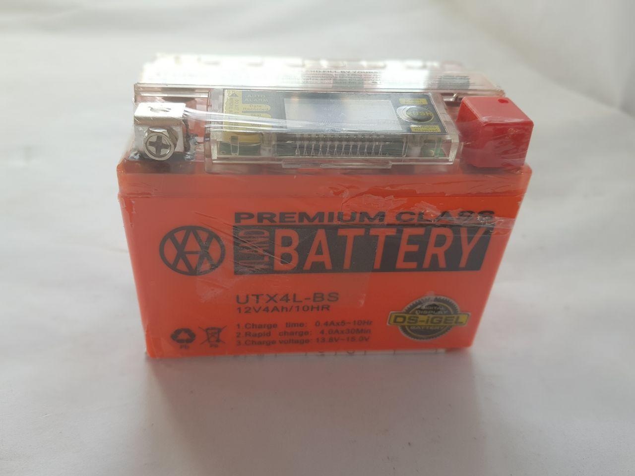 Аккумулятор 4A 12V Honda/Yamaha (YTX4L-BS) VLAND гелевий с цифровым вольтметром 113x70x87