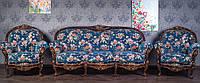 """Комплект мягкой мебели в классическом стиле """"Ника"""" из натурального дерева, диван и два кресла в гостиную, 311"""