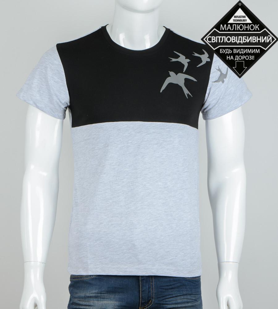 Футболка чоловіча світловідбиваюча Ластівки (0940м), Сірий+Чорний