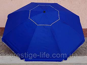 Торговый, пляжный Зонт диаметром 3м с клапаном, 10 спиц. Пластиковые спицы. Серебренное покрытие. Синий