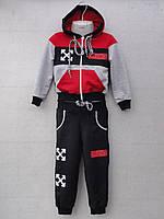 """Спортивний костюм дитячий """"Off White репліка"""". Вік 4-8 років. Червоний з чорним. Оптом"""
