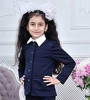 Пиджак школьный детский для девочки 7-12 лет, чёрного и темно синего цвета