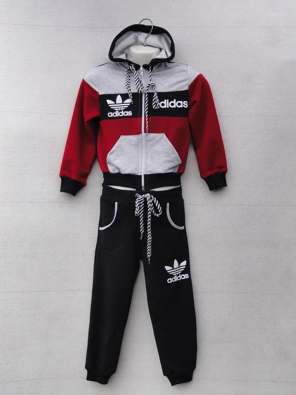 """Спортивный костюм детский """"Adidas реплика"""". Возраст 4-8 лет. Бордо с черным. Оптом"""
