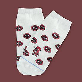 """Носки белые короткие с принтом """"Дэдпул"""""""