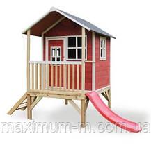 Детский деревянный домик с горкой 120 см