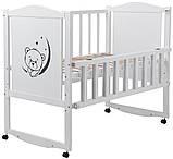 Кровать Babyroom Тедди T-01 фигурное быльце, откидной бок, колеса  белый, фото 2