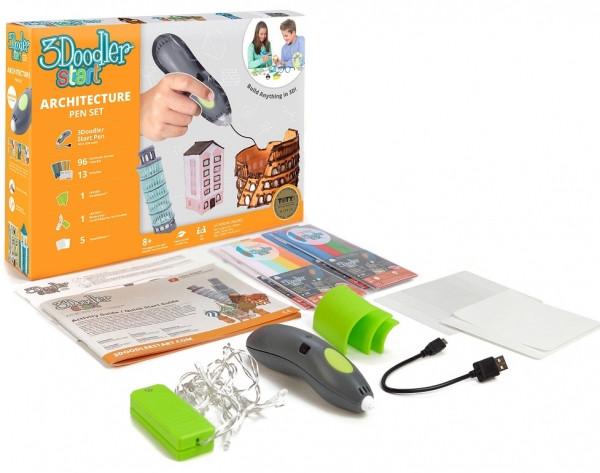 3D-ручка 3Doodler Start для детского творчества - Архитектор (96 стержней, шаблон, аксессуары)