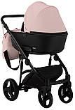 Коляска 2 в 1 Bair Mirello кожа 100% M-02 светло-розовый (пудра) - черный, фото 4