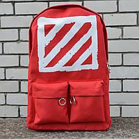 Рюкзак в стилі Off-White червоний, фото 1