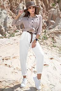 Летние женские белые брюки Мом