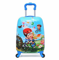 """Детский пластиковый чемодан для мальчика """"Мальчик на велосипеде"""", на колесах, ручная кладь, дитячі валізи"""