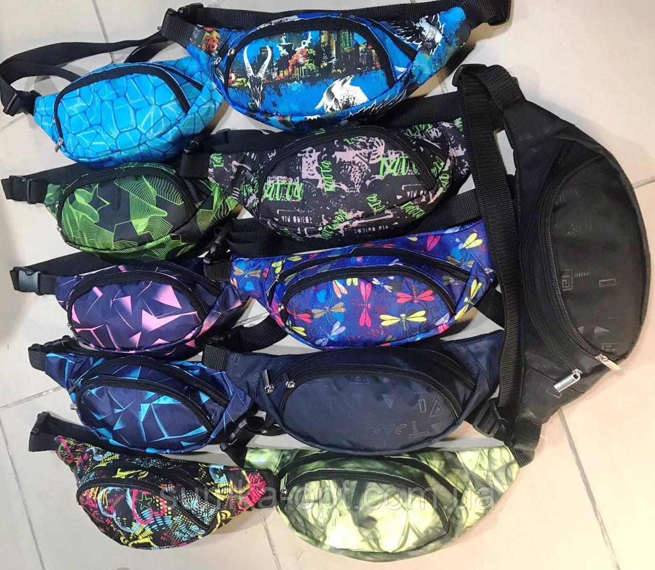 Молодёжные сумки бананки на пояс 2отд.  текстиль (6цветов)14*31см