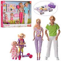 Кукла Семья DEFA на пикнике 29 см,дочки 13 см и 10см,пикник,самокат,рюкз,возд.зм,2в
