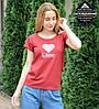 Футболка женская с отворотом Likee (0930жр), Бордовый, фото 2