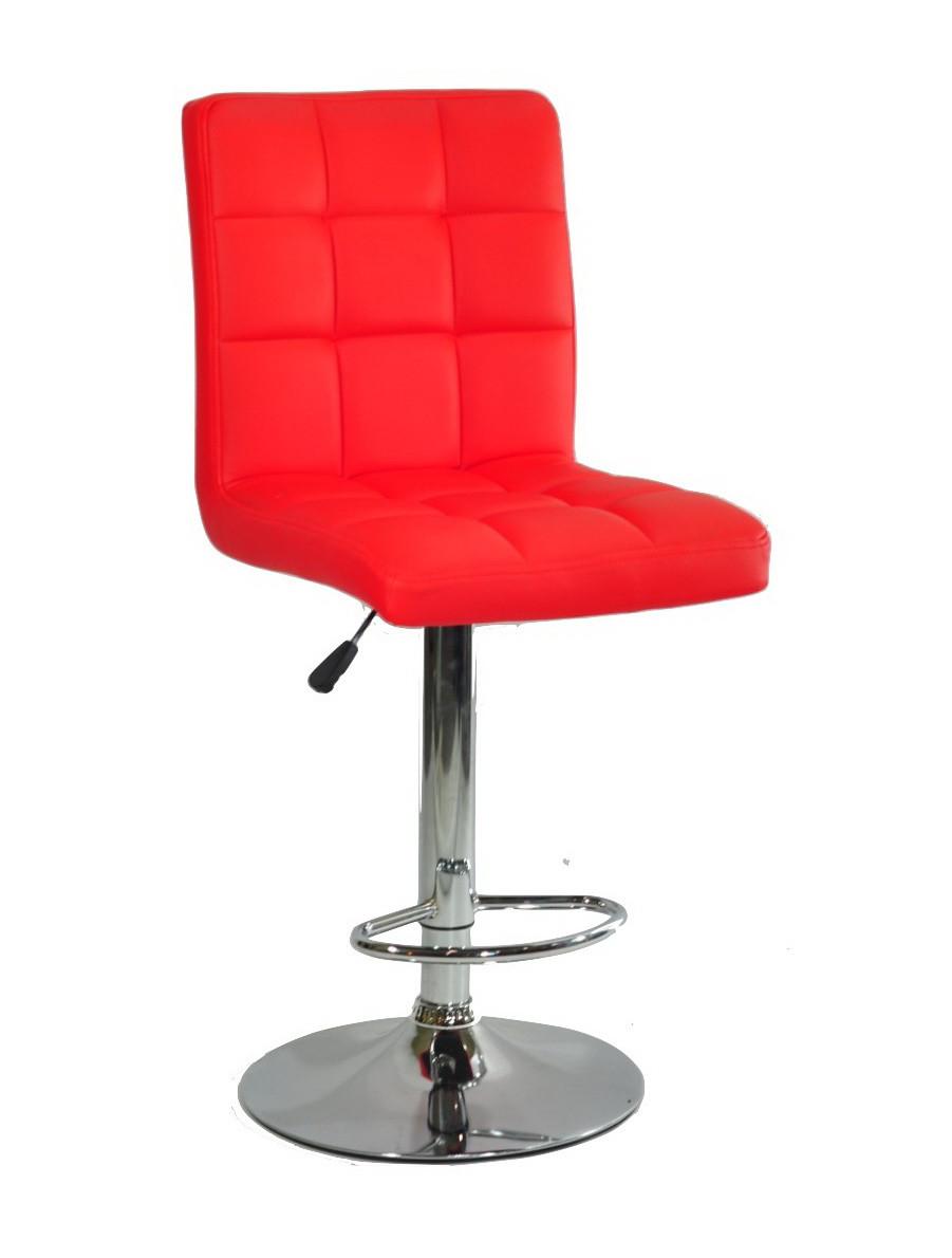 Стул визажиста Августо красная экокожа + хром база, барный стул