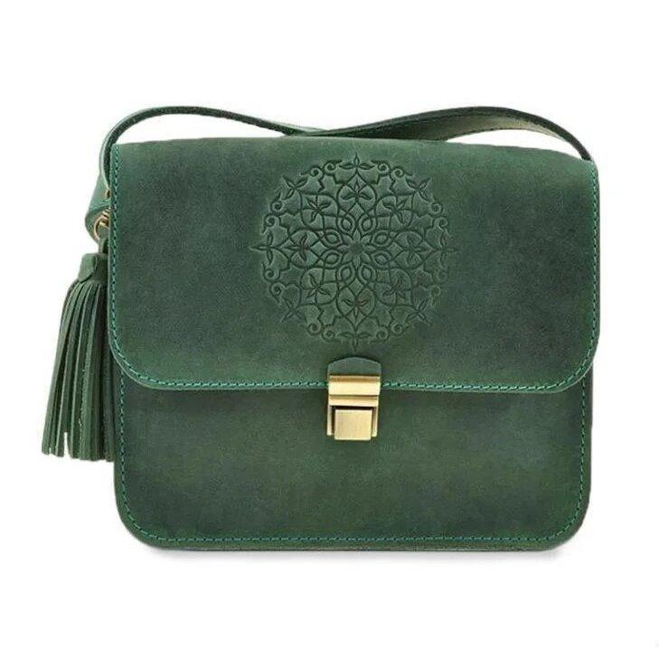 Кожаная женская бохо-сумка Blanknote Лилу зеленая