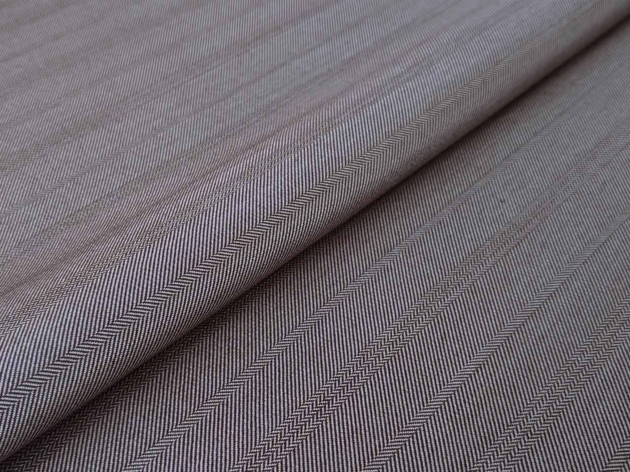 Ткань Костюмная Вива полоска елочка 25 мм, коричнево-серый