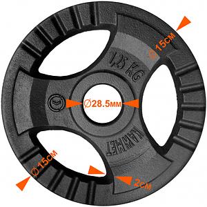 Блин (диск) 1,25 кг для гантели (штанги) с тройным хватом KAWMET под гриф Ø28мм