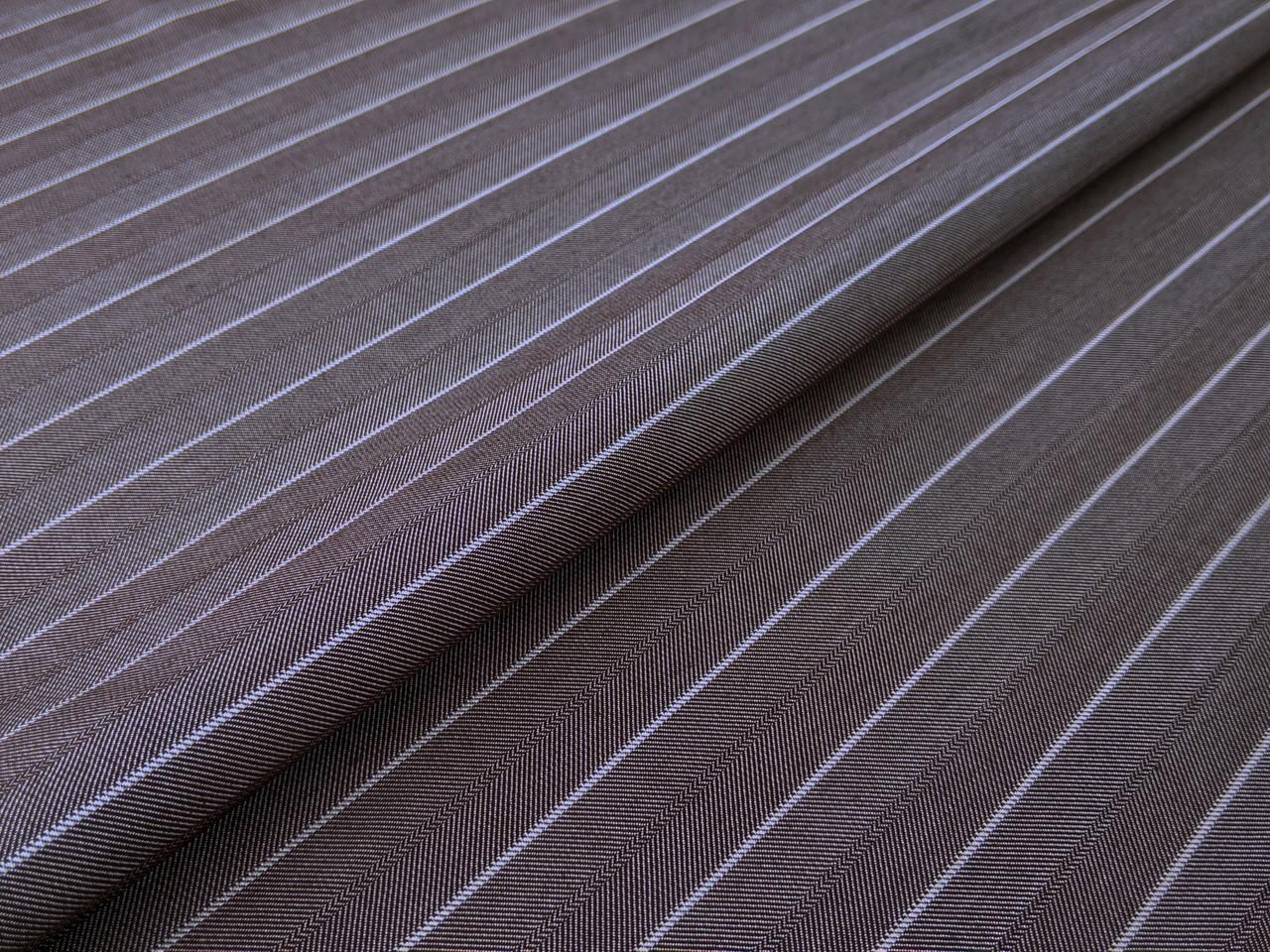 Костюмная Вива полоска 20 мм, коричнево-серый