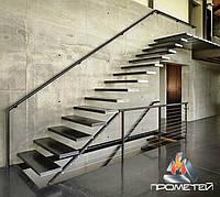 Перила из черных металлов пристенные для лестницы на больцах для интерьеров в стиле лофт