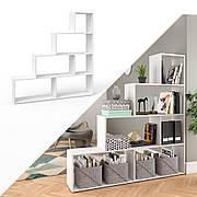 Высокий стеллаж ❤️ для дома, лесенка,✅ из ДСП 6 открытых отсека,Супер Белый