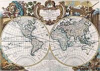 Старинная карта мира 100см х 72см