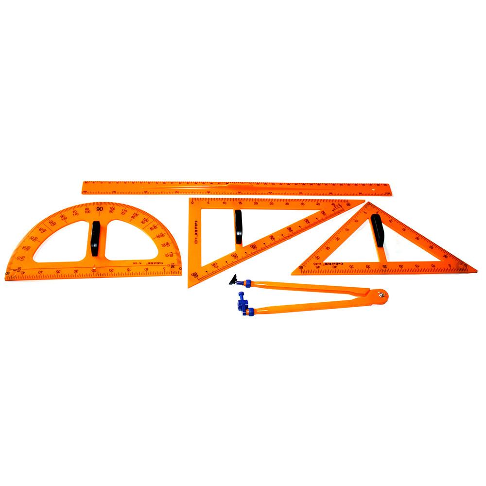 Креслярський набір для дошки на магнітах: 2 трикутник, транспортир, циркуль, лінійка, в ПВХ чохлі (5 шт)