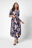 Оригинальное платье на запах в увеличенных размерах в цветочный узор