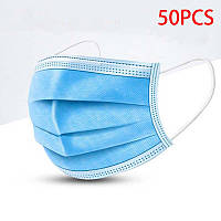 Защитная Маска для лица трехслойная с фиксатором переносицы 50шт