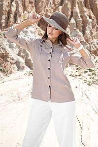 Женская серая летняя коттоновая рубашка