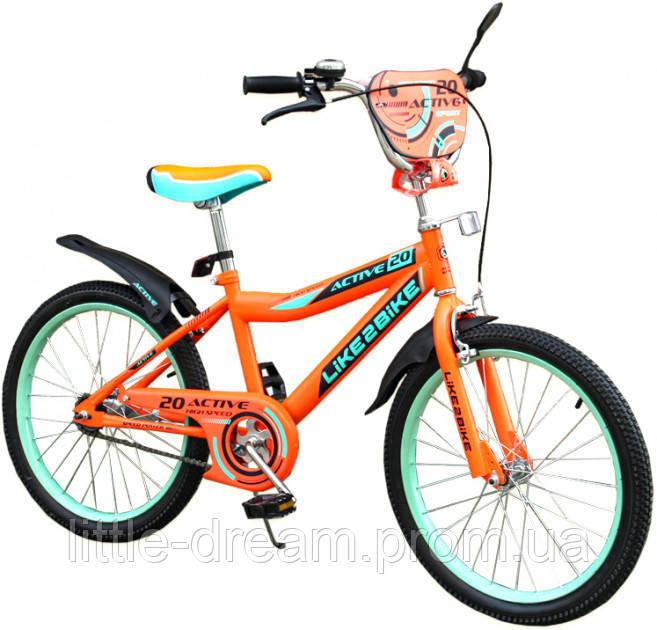 Двухколесный детский велосипед 20 дюймов Like2bike Active Оранжевый со звонком,подножкой и зеркалом