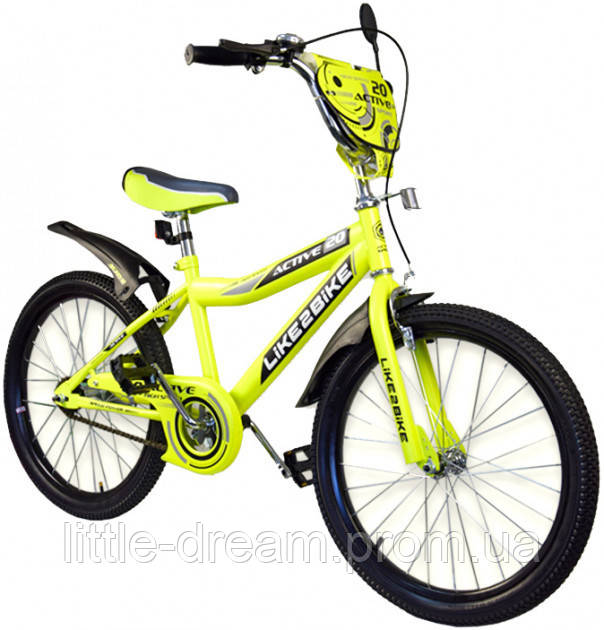Двухколесный детский велосипед 20 дюймов Like2bike Active 192029 Жёлтый со звонком,подножкой и зеркалом