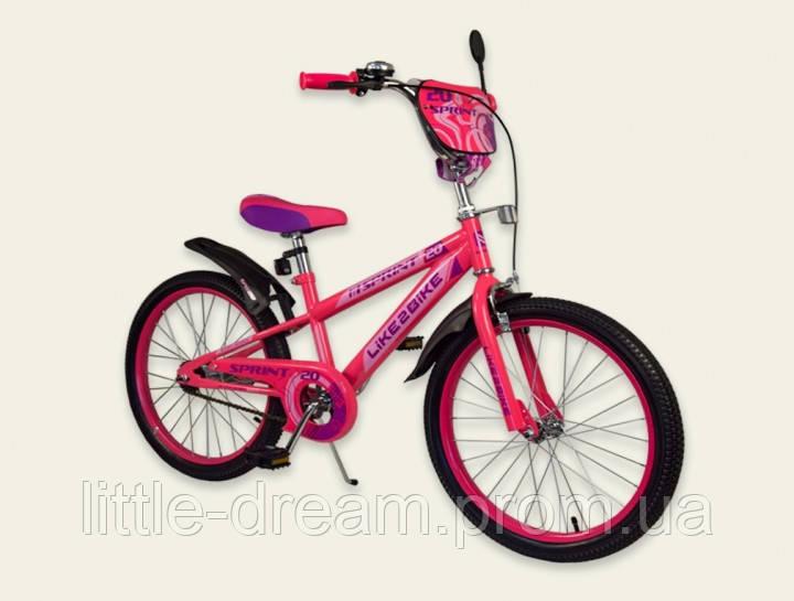 Двухколесный детский велосипед для девочки 20 дюймов Like2bike Sprint Розовый со звонком и зеркалом