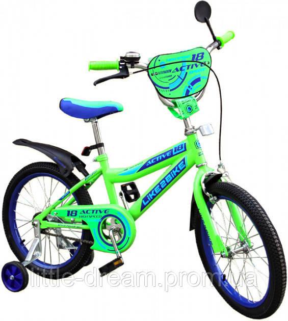 Двухколесный детский велосипед 18 дюймов Like2bike Active Салатовый с боковыми тренировочными колесами