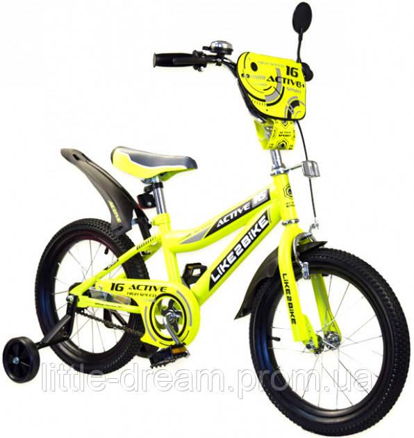 Двухколесный детский велосипед 16 дюймов Like2bike Active Жёлтый с боковыми тренировочными колесами
