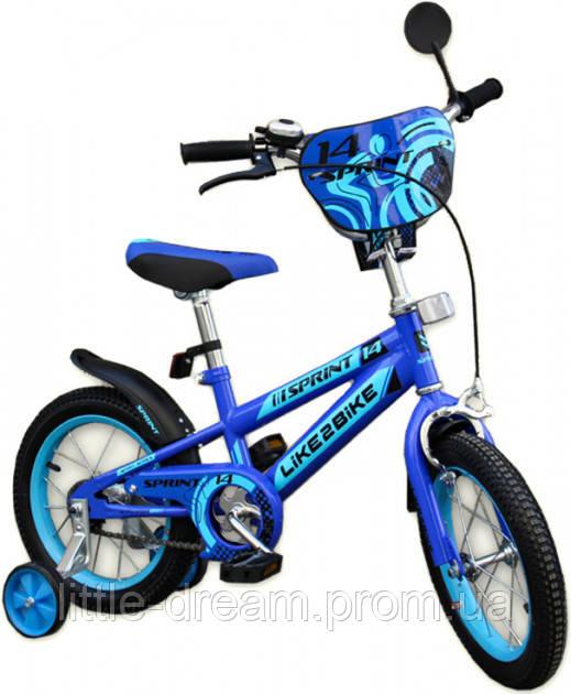 Двухколесный детский велосипед 14 дюймов Like2bike Sprint Синий