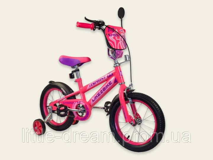Двухколесный детский велосипед 14 дюймов Like2bike Sprint Фуксия
