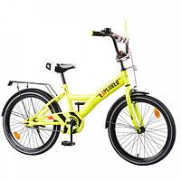 """Двухколесный детский велосипед EXPLORER 20"""" T-220112, со светоотражателями, багажником и зеркалом, желтый"""